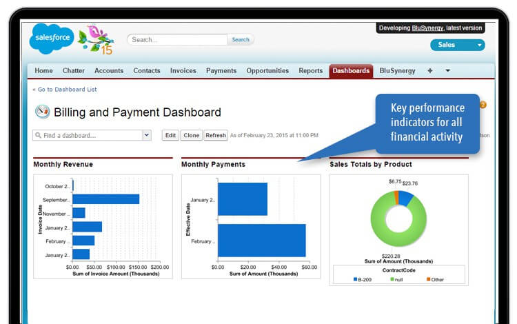 salesforce billing & payments dashboard