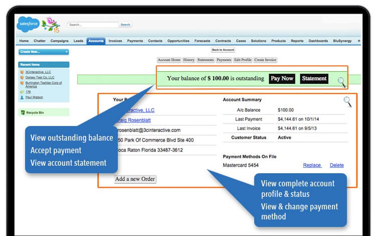 Salesforce review billing & payments