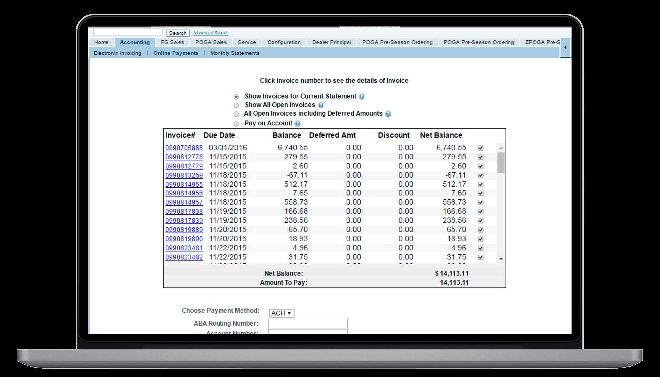 SAP invoice listing