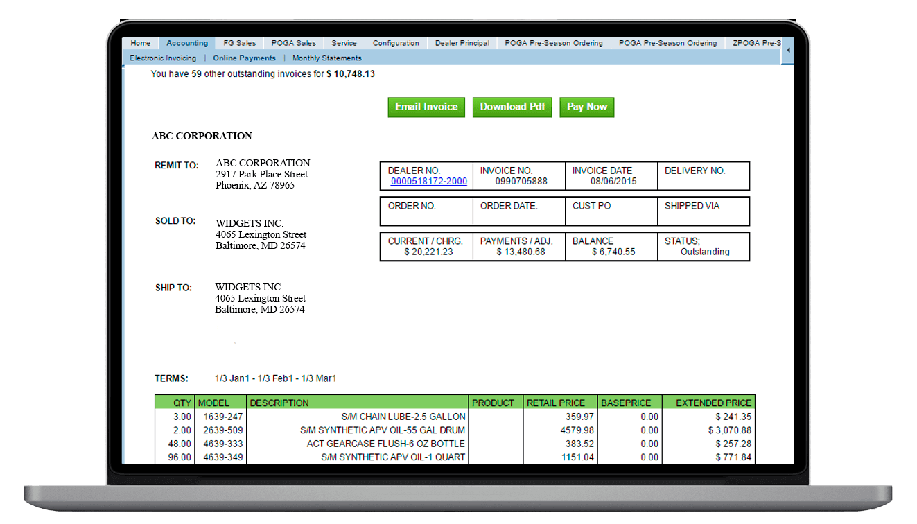 SAP outstanding invoices by client