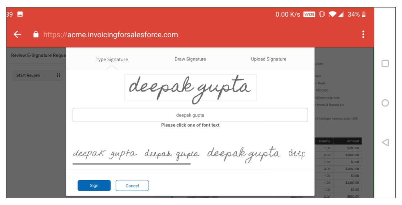 E-Signature Software and Pay app for Salesforce